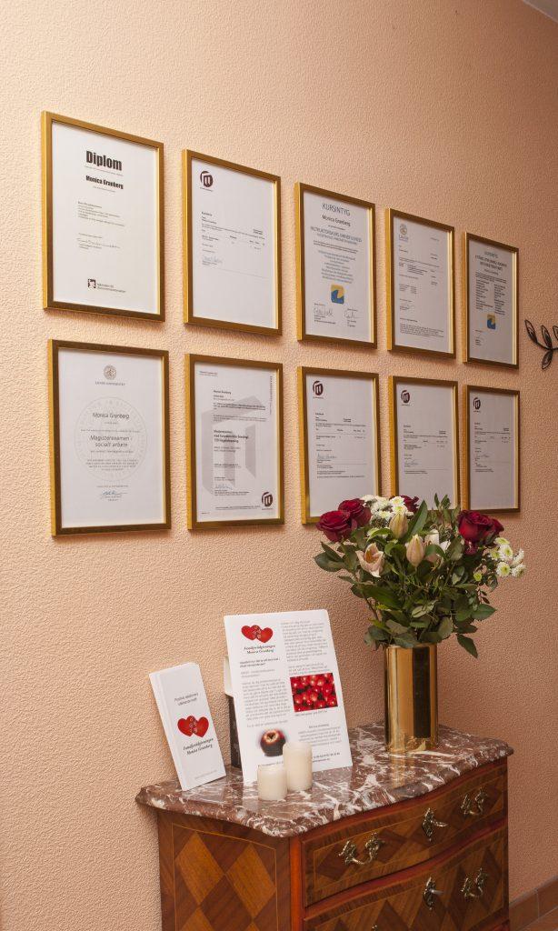 Diplom upphängda på en vägg